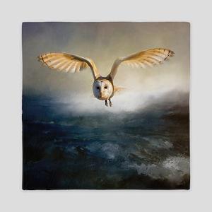 An barn owl flies over the lake Queen Duvet
