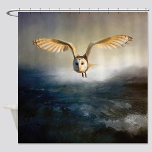 An barn owl flies over the lake Shower Curtain