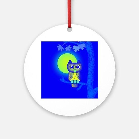 Blue Owl Round Ornament