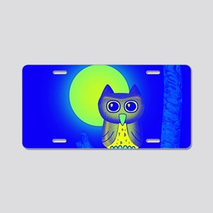 Blue Owl Aluminum License Plate