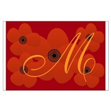 Bright Red Floral Large Poster