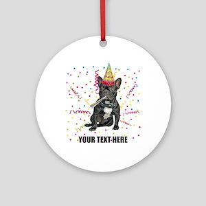 Custom French Bulldog Birthday Round Ornament
