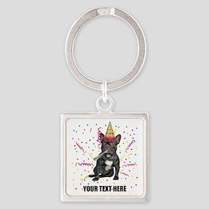 Custom French Bulldog Birthday Square Keychain