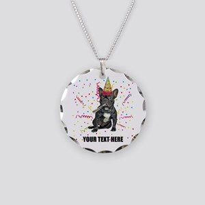 Custom French Bulldog Birthd Necklace Circle Charm
