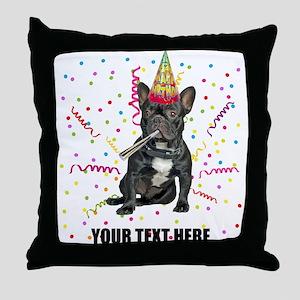 Custom French Bulldog Birthday Throw Pillow