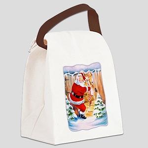 Santa Claus brings his reindeers Canvas Lunch Bag