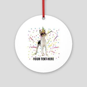 Custom Toy Fox Terrier Birthday Round Ornament