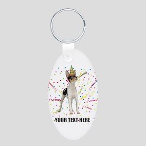 Custom Toy Fox Terrier Birt Aluminum Oval Keychain