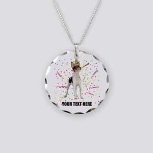 Custom Toy Fox Terrier Birth Necklace Circle Charm