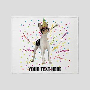 Custom Toy Fox Terrier Birthday Throw Blanket