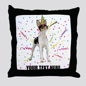 Custom Toy Fox Terrier Birthday Throw Pillow