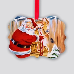 Santa Claus brings his reindeers Ornament