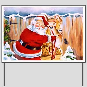 Santa Claus brings his reindeers Yard Sign