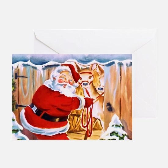 Santa Claus brings his reindeers Greeting Cards