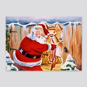 Santa Claus brings his reindeers 5'x7'Area Rug