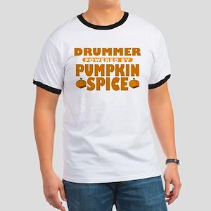 Drummer Powered by Pumpkin Spice Ringer T-Shirt
