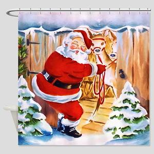 Santa Claus brings his reindeers Shower Curtain