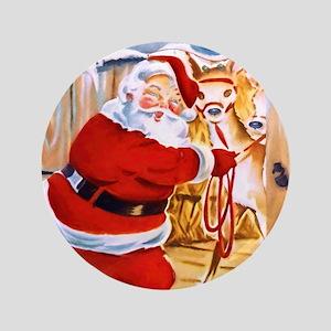 Santa Claus brings his reindeers Button
