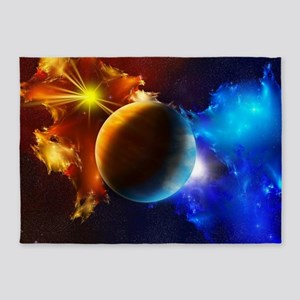 Planet And Space 5'x7'Area Rug