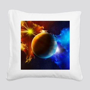 Planet And Space Square Canvas Pillow