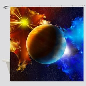 Planet And Space Shower Curtain