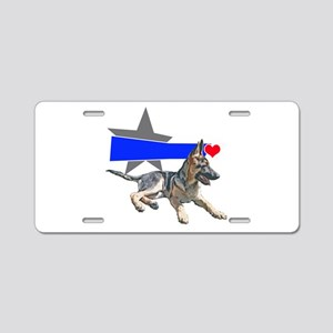 The Shepherd blue line Aluminum License Plate