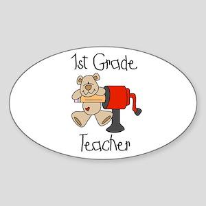 1st Grade Teacher Oval Sticker