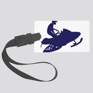 Navy Snowmobiler Large Luggage Tag