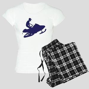Navy Snowmobiler Women's Light Pajamas
