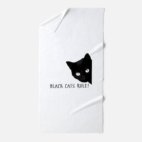 Black cats rule Beach Towel