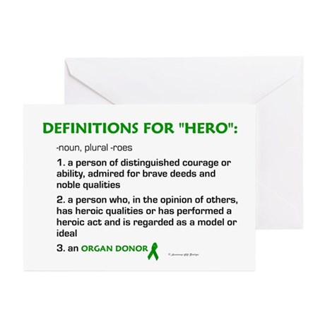 HERO Definitions (Organ Donor) Greeting Cards (Pk