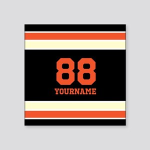 "Orange and Black Stripes Pe Square Sticker 3"" x 3"""