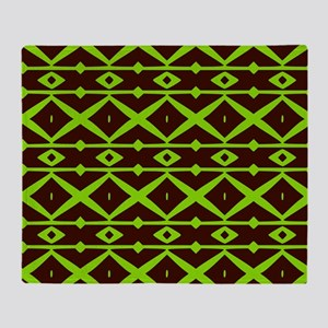 Brown and Green Trellis Pattern Throw Blanket