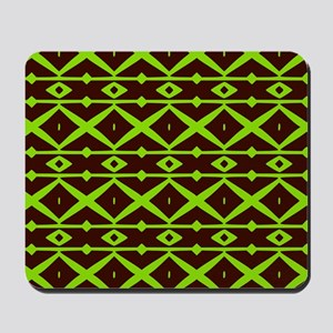 Brown and Green Trellis Pattern Mousepad