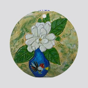 Gardenia in Bud Vase Ornament (Round)