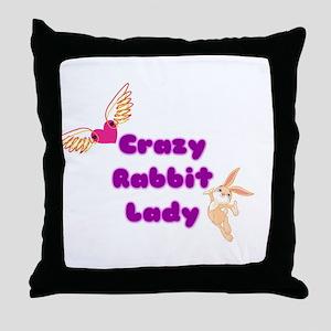 Crazy Rabbit Lady Throw Pillow