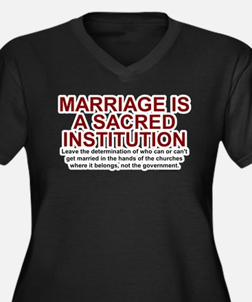 Marriage Is Sacred Women's Plus Size V-Neck Dark T
