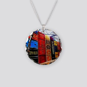 Block of Books! Necklace Circle Charm