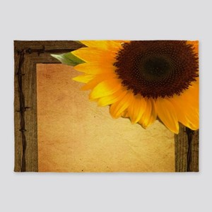 western country rustic sunflower 5'x7'Area Rug