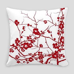 modern zen red plum floral Everyday Pillow
