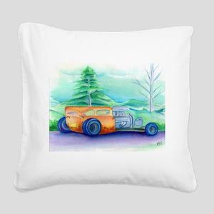Orange Hot Rod Square Canvas Pillow
