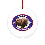 Kansas Free Mason Ornament (Round)