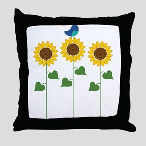 Sunflower Garden Bird Throw Pillow