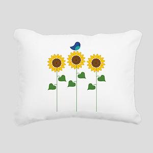 Sunflower Garden Bird Rectangular Canvas Pillow