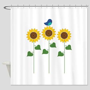 Sunflower Garden Bird Shower Curtain