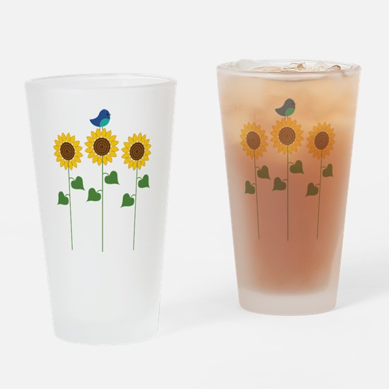 Sunflower Garden Bird Drinking Glass
