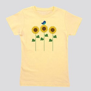 Sunflower Garden Bird Girl's Tee