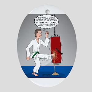 Karate Kick Dilemma Oval Ornament