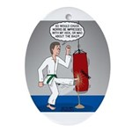 Karate Kick Dilemma Oval Ornament