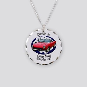 Fiat 124 Spider Necklace Circle Charm